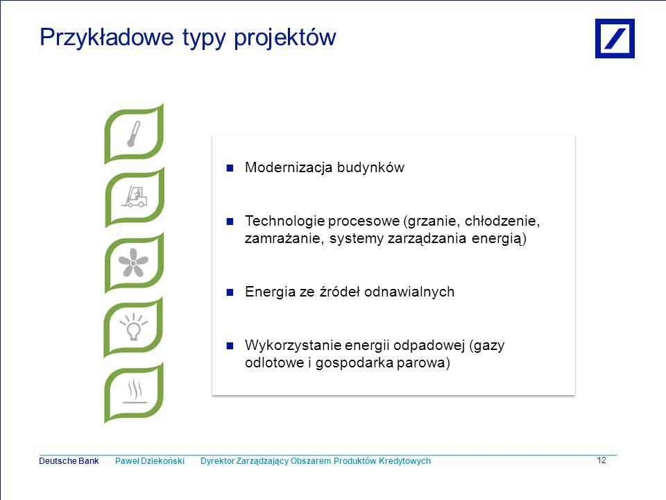 Paweł Dziekoński Dyrektor Zarządzający Obszarem Produktów Kredytowych Deutsche Bank 12 Przykładowe typy projektów Modernizacja budynków Technologie pr