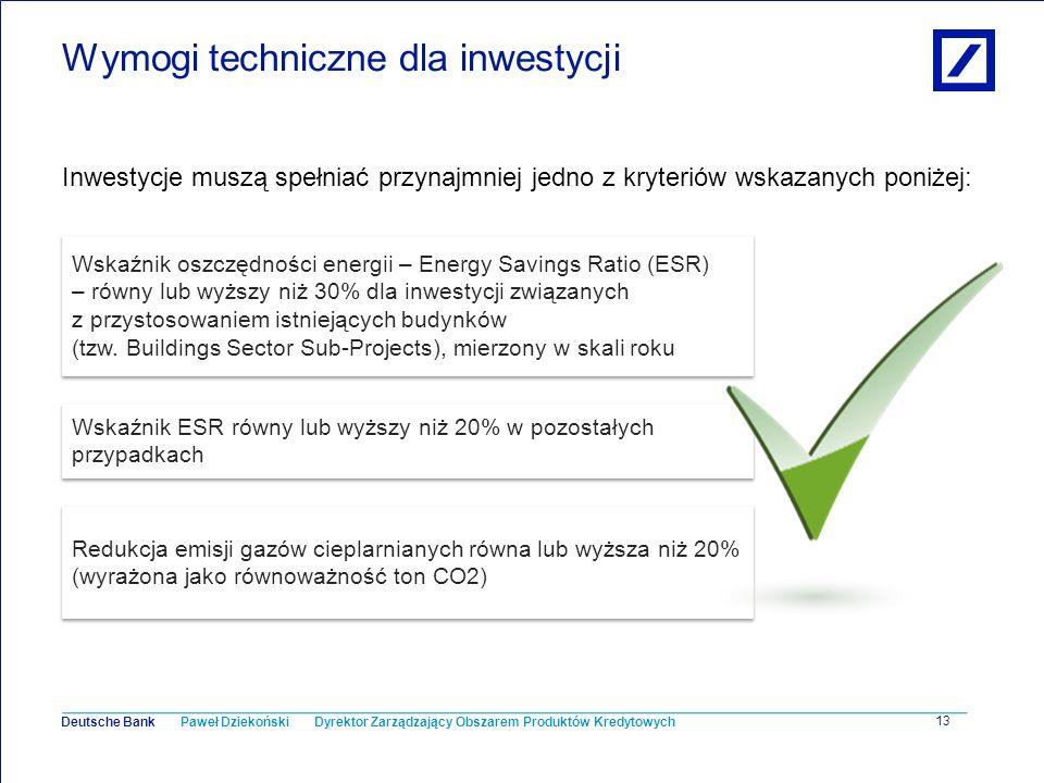Paweł Dziekoński Dyrektor Zarządzający Obszarem Produktów Kredytowych Deutsche Bank 13 Wymogi techniczne dla inwestycji Inwestycje muszą spełniać przy