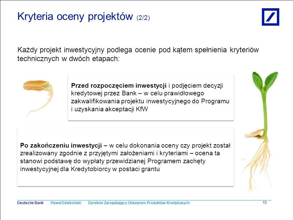 Paweł Dziekoński Dyrektor Zarządzający Obszarem Produktów Kredytowych Deutsche Bank 15 Kryteria oceny projektów (2/2) Każdy projekt inwestycyjny podle