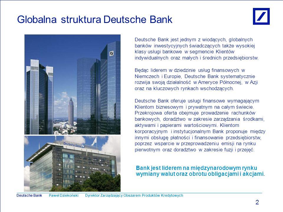 Paweł Dziekoński Dyrektor Zarządzający Obszarem Produktów Kredytowych Deutsche Bank Deutsche Bank w Polsce 3 Obecnie Grupa Deutsche Bank jest reprezentowana w Polsce przez pięć firm, w tym dwa banki: Deutsche Bank Polska - działający w bankowości korporacyjnej i inwestycyjnej oraz Deutsche Bank PBC - specjalizujący się w usługach dla Klientów prywatnych i biznesowych.