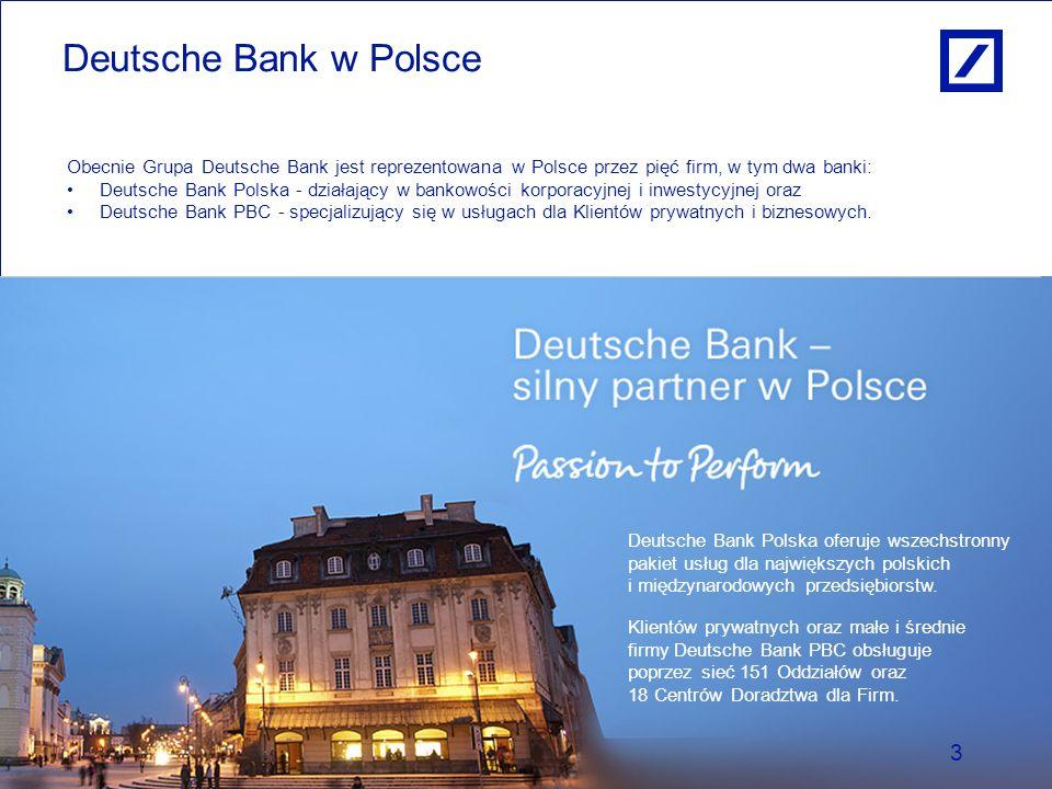 Paweł Dziekoński Dyrektor Zarządzający Obszarem Produktów Kredytowych Deutsche Bank Deutsche Bank w Polsce 3 Obecnie Grupa Deutsche Bank jest reprezen