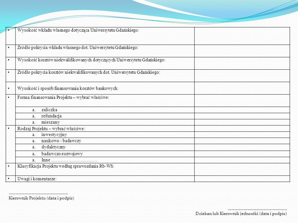 Wysokość wkładu własnego dotycząca Uniwersytetu Gdańskiego: Źródło pokrycia wkładu własnego dot. Uniwersytetu Gdańskiego: Wysokość kosztów niekwalifik