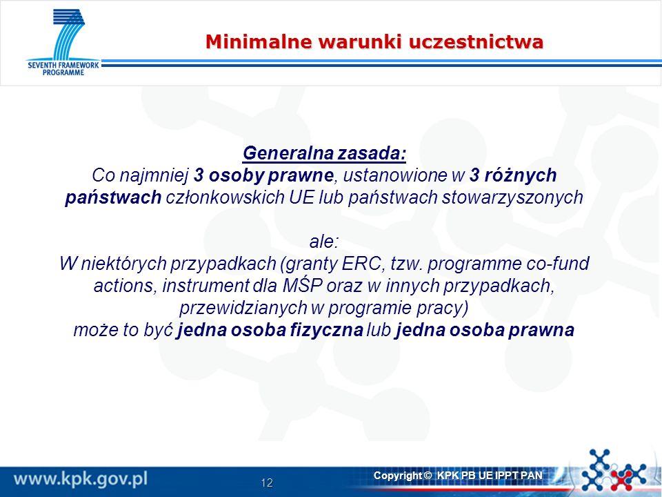 12 Copyright © KPK PB UE IPPT PAN Minimalne warunki uczestnictwa Generalna zasada: Co najmniej 3 osoby prawne, ustanowione w 3 różnych państwach członkowskich UE lub państwach stowarzyszonych ale: W niektórych przypadkach (granty ERC, tzw.