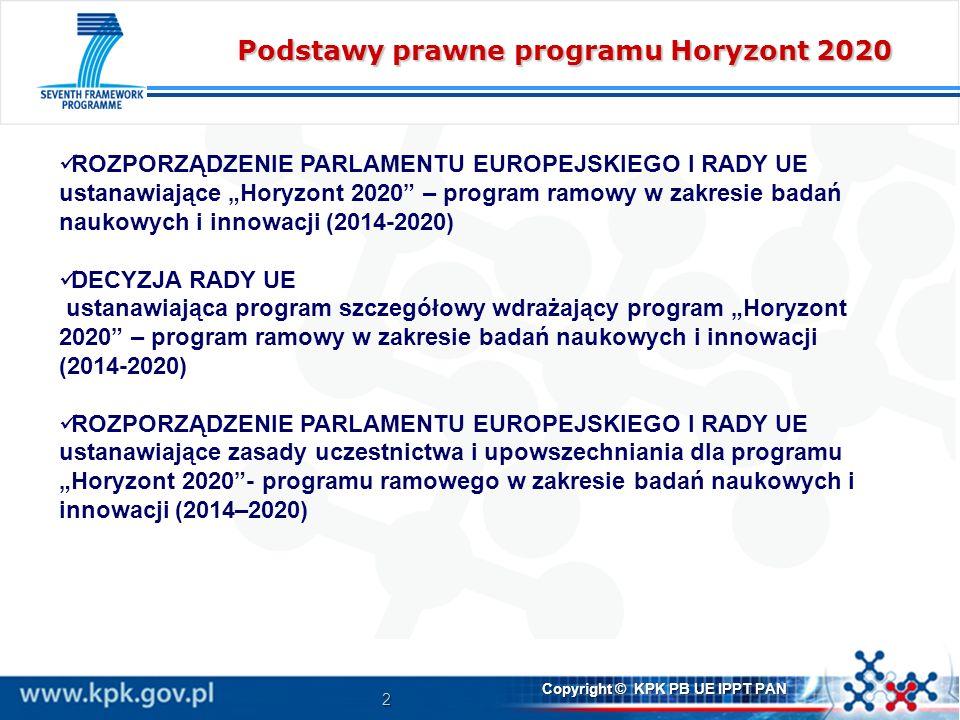 2 Copyright © KPK PB UE IPPT PAN Podstawy prawne programu Horyzont 2020 ROZPORZĄDZENIE PARLAMENTU EUROPEJSKIEGO I RADY UE ustanawiające Horyzont 2020 – program ramowy w zakresie badań naukowych i innowacji (2014-2020) DECYZJA RADY UE ustanawiająca program szczegółowy wdrażający program Horyzont 2020 – program ramowy w zakresie badań naukowych i innowacji (2014-2020) ROZPORZĄDZENIE PARLAMENTU EUROPEJSKIEGO I RADY UE ustanawiające zasady uczestnictwa i upowszechniania dla programu Horyzont 2020- programu ramowego w zakresie badań naukowych i innowacji (2014–2020)