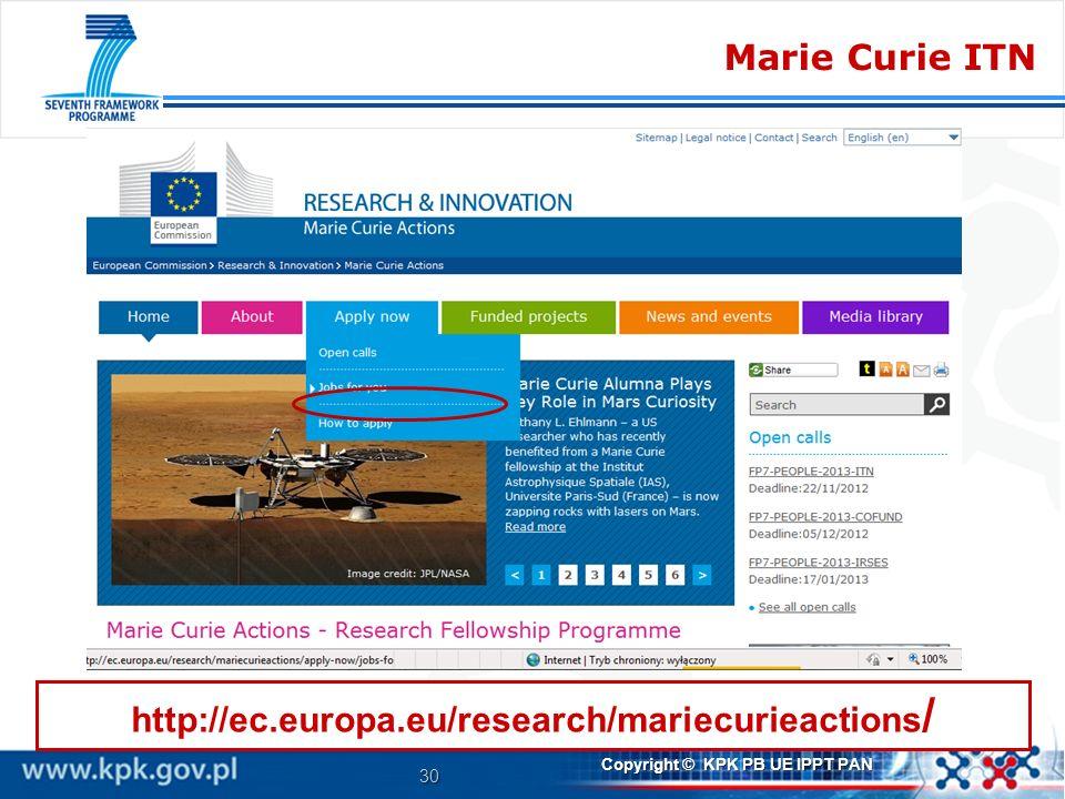 30 Copyright © KPK PB UE IPPT PAN Marie Curie ITN http://ec.europa.eu/research/mariecurieactions /