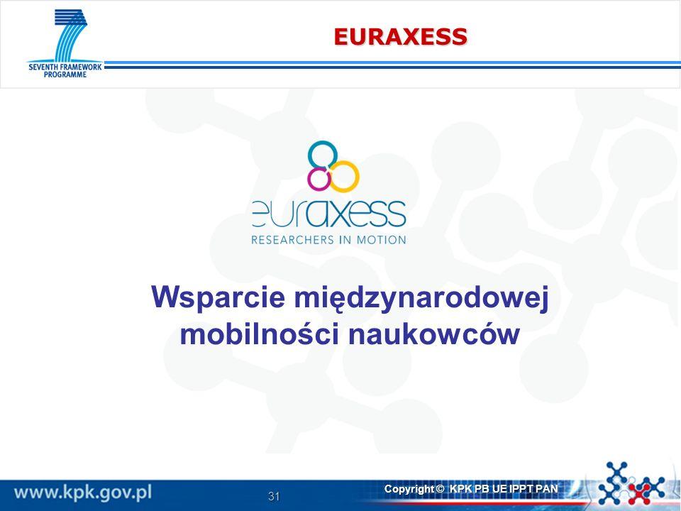 31 Copyright © KPK PB UE IPPT PAN EURAXESS Wsparcie międzynarodowej mobilności naukowców