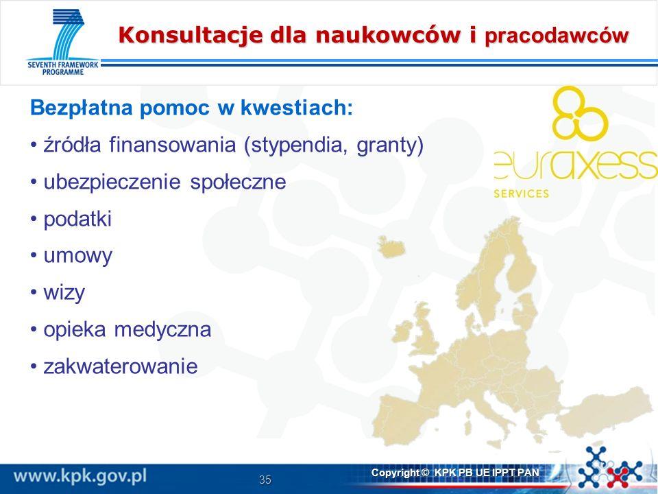 35 Copyright © KPK PB UE IPPT PAN Konsultacje dla naukowców i pracodawców Bezpłatna pomoc w kwestiach: źródła finansowania (stypendia, granty) ubezpieczenie społeczne podatki umowy wizy opieka medyczna zakwaterowanie