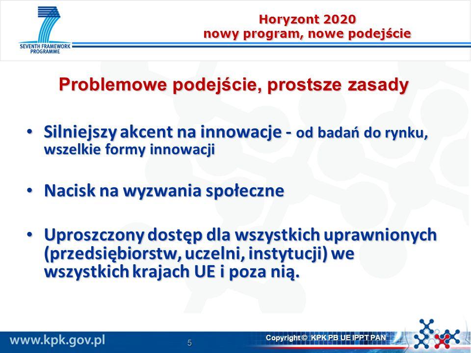 5 Copyright © KPK PB UE IPPT PAN Horyzont 2020 nowy program, nowe podejście Problemowe podejście, prostsze zasady Silniejszy akcent na innowacje - od badań do rynku, wszelkie formy innowacji Silniejszy akcent na innowacje - od badań do rynku, wszelkie formy innowacji Nacisk na wyzwania społeczne Nacisk na wyzwania społeczne Uproszczony dostęp dla wszystkich uprawnionych (przedsiębiorstw, uczelni, instytucji) we wszystkich krajach UE i poza nią.