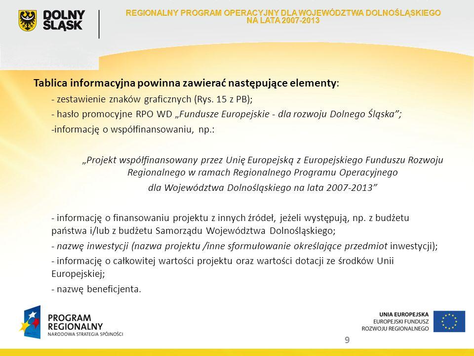 9 Tablica informacyjna powinna zawierać następujące elementy: - zestawienie znaków graficznych (Rys. 15 z PB); - hasło promocyjne RPO WD Fundusze Euro