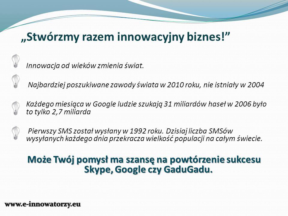Stwórzmy razem innowacyjny biznes! Innowacja od wieków zmienia świat. Najbardziej poszukiwane zawody świata w 2010 roku, nie istniały w 2004 Każdego m