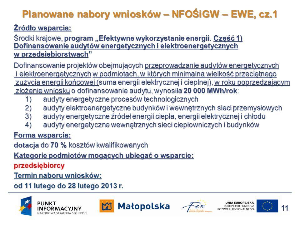 Źródło wsparcia: Środki krajowe, program Efektywne wykorzystanie energii. Część 1) Dofinansowanie audytów energetycznych i elektroenergetycznych w prz