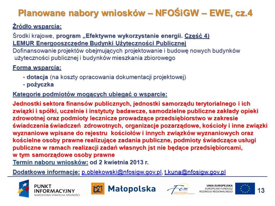 Źródło wsparcia: Środki krajowe, program Efektywne wykorzystanie energii. Część 4) LEMUR Energooszczędne Budynki Użyteczności Publicznej Dofinansowani