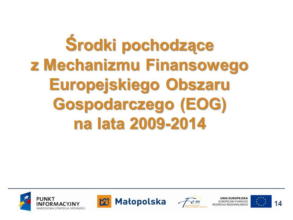 Ś rodki pochodzące z Mechanizmu Finansowego Europejskiego Obszaru Gospodarczego (EOG) na lata 2009-2014 14