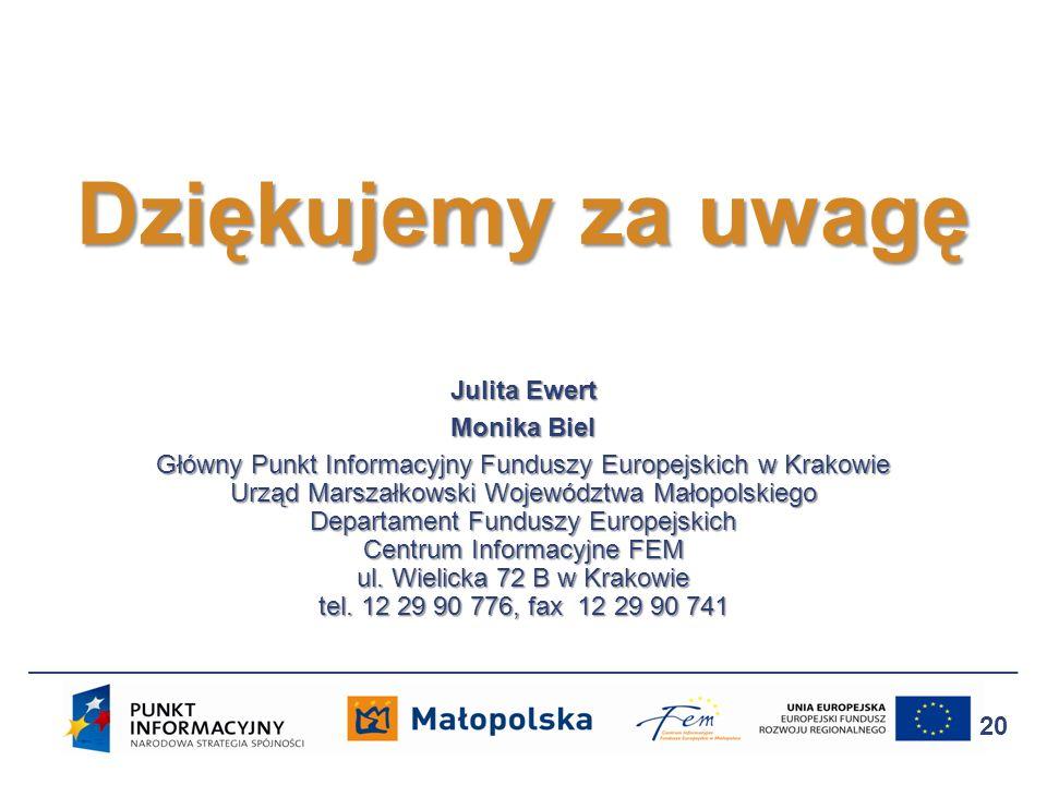 Julita Ewert Monika Biel Główny Punkt Informacyjny Funduszy Europejskich w Krakowie Urząd Marszałkowski Województwa Małopolskiego Departament Funduszy