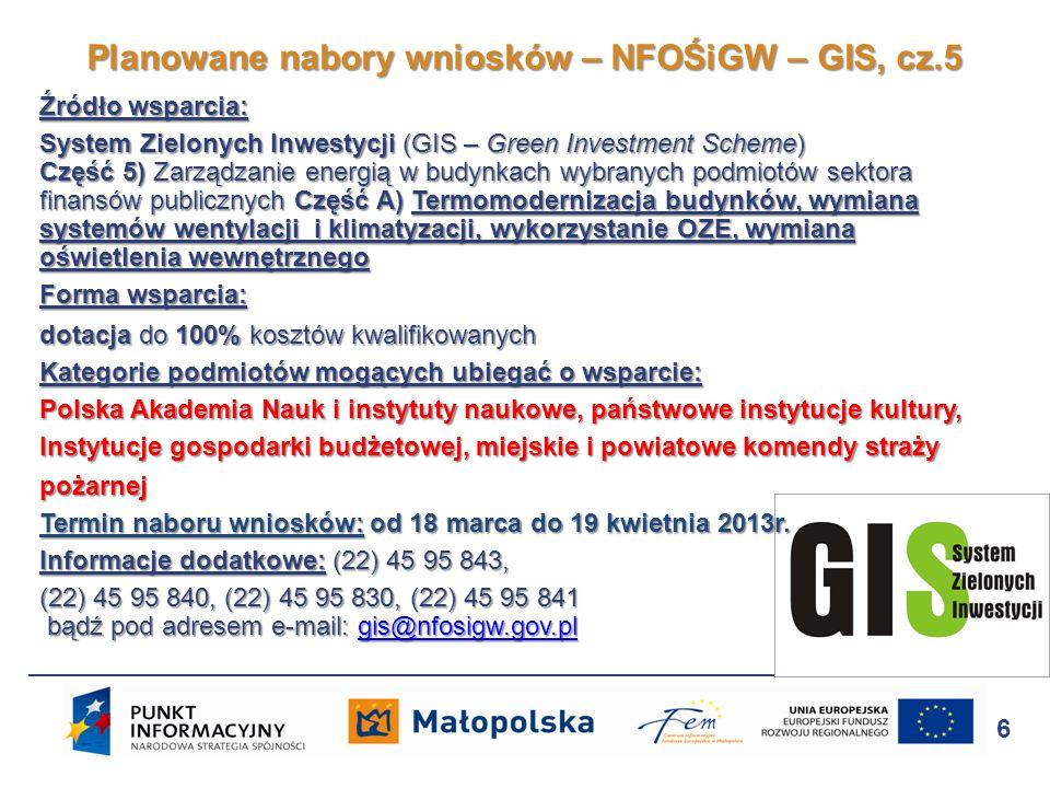 Źródło wsparcia: System Zielonych Inwestycji (GIS – Green Investment Scheme) Część 6) tj.