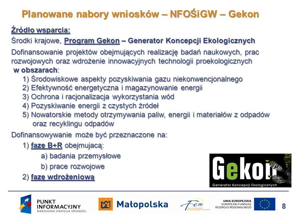 Planowany termin naboru: II kwartał 2013 Szczegółowe informacje: Ministerstwo Środowiska tel.