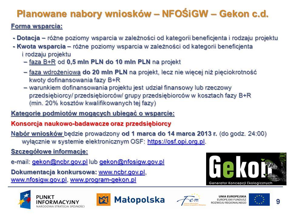 http://program-gekon.pl Program GEKON 10 Planowane nabory wniosków – NFOŚiGW – Gekon c.d.