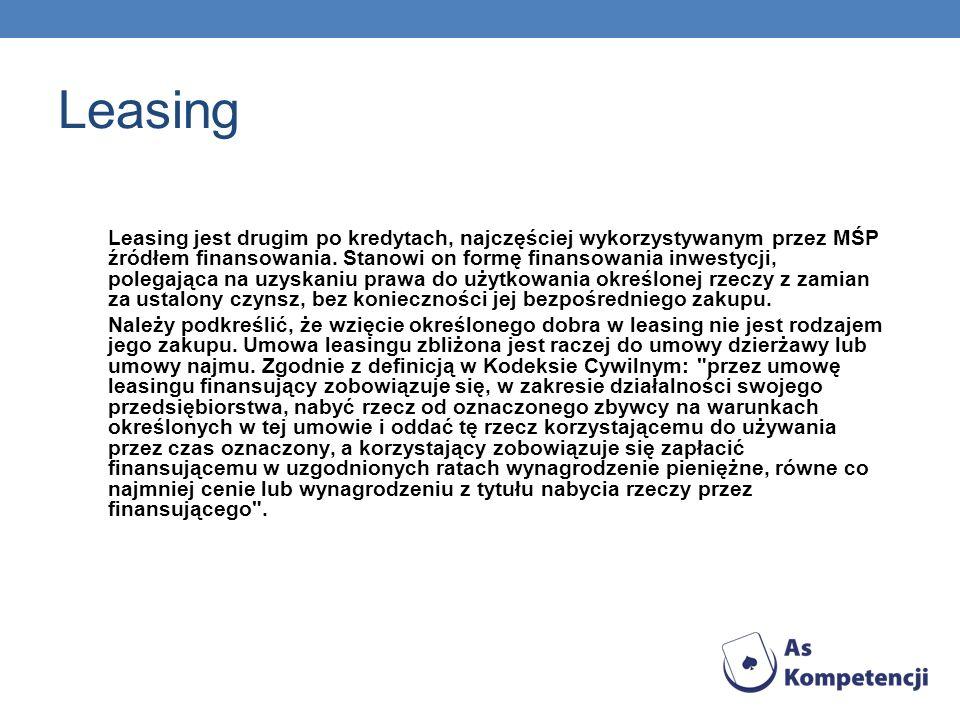 Leasing Leasing jest drugim po kredytach, najczęściej wykorzystywanym przez MŚP źródłem finansowania. Stanowi on formę finansowania inwestycji, polega