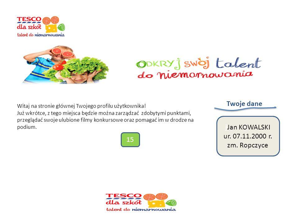 Profil użytkownika Po zalogowaniu można głosować na film z naszej szkoły link do filmu http://www.tescodlaszkol.pl/35787