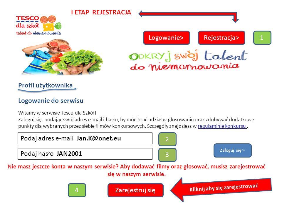 Logowanie>Rejestracja> Profil użytkownika Logowanie do serwisu Witamy w serwisie Tesco dla Szkół.