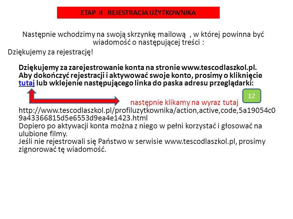Profil użytkownika Gratulacje.Twoje konto w serwisie www.tescodlaszkol.pl zostało aktywowane.