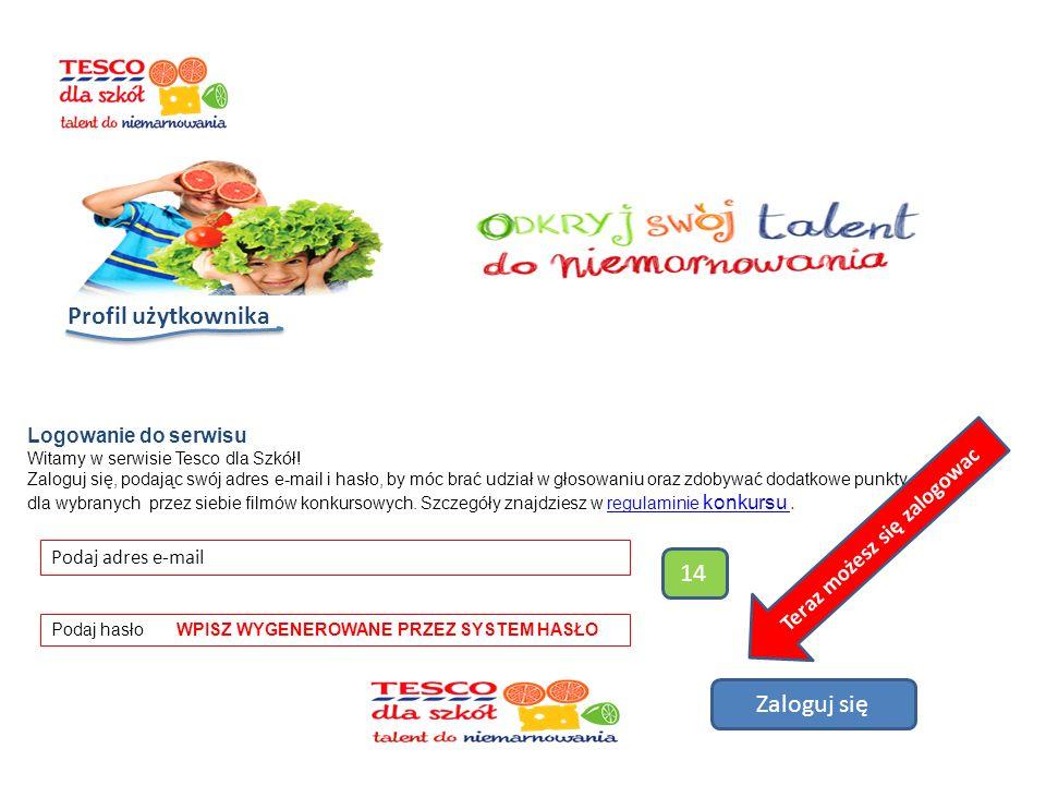 Profil użytkownika Logowanie do serwisu Witamy w serwisie Tesco dla Szkół.