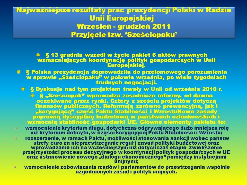 Najważniejsze rezultaty prac prezydencji Polski w Radzie Unii Europejskiej Wrzesień - grudzień 2011 Przyjęcie tzw.