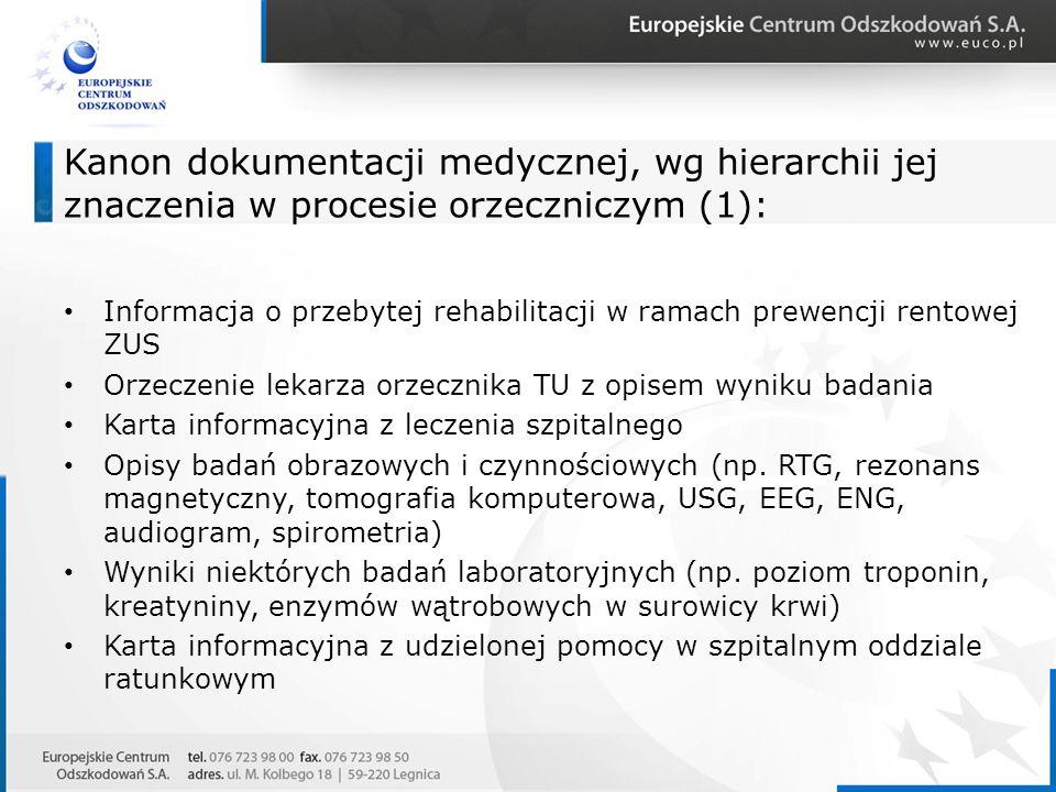 Kanon dokumentacji medycznej, wg hierarchii jej znaczenia w procesie orzeczniczym (1): Informacja o przebytej rehabilitacji w ramach prewencji rentowe