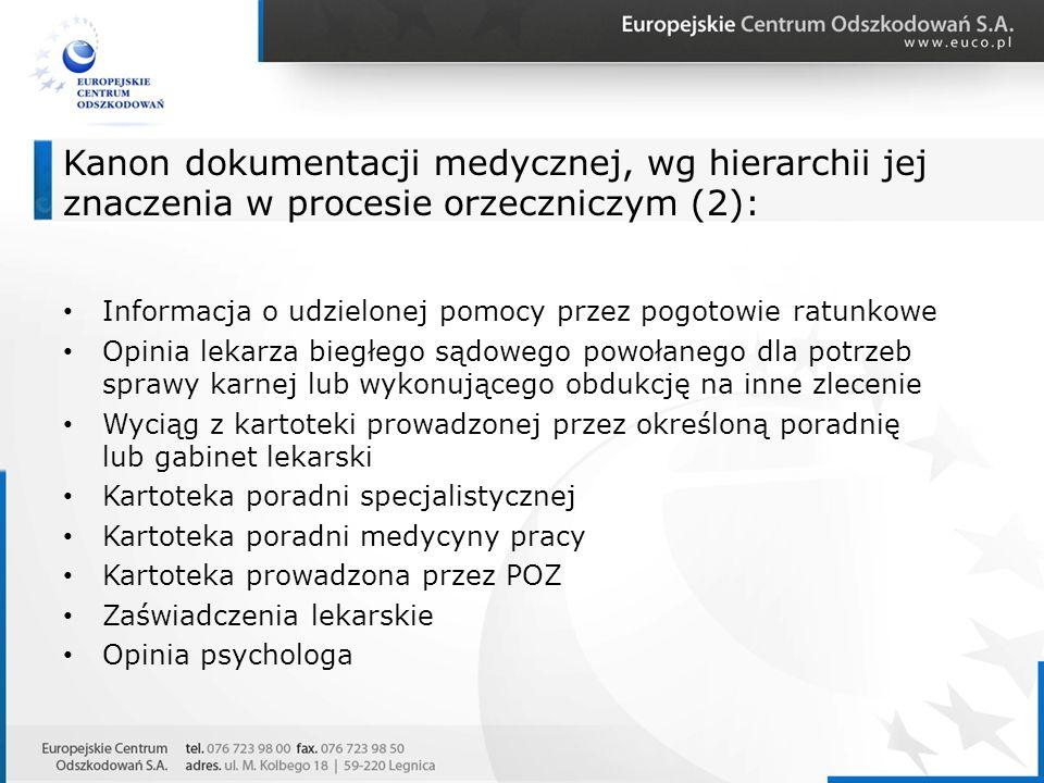Kanon dokumentacji medycznej, wg hierarchii jej znaczenia w procesie orzeczniczym (2): Informacja o udzielonej pomocy przez pogotowie ratunkowe Opinia