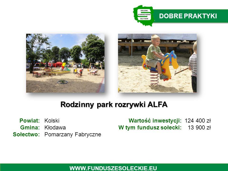 Rodzinny park rozrywki ALFA Powiat: Gmina: Sołectwo: Kolski Kłodawa Pomarzany Fabryczne Wartość inwestycji: W tym fundusz sołecki: 124 400 zł 13 900 z
