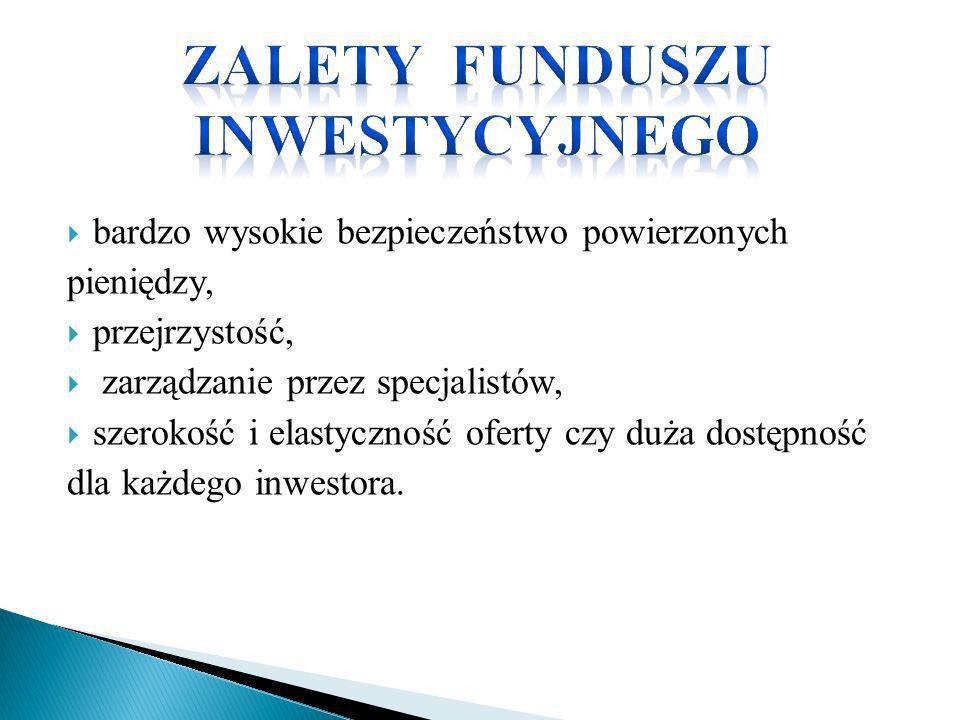 bardzo wysokie bezpieczeństwo powierzonych pieniędzy, przejrzystość, zarządzanie przez specjalistów, szerokość i elastyczność oferty czy duża dostępno