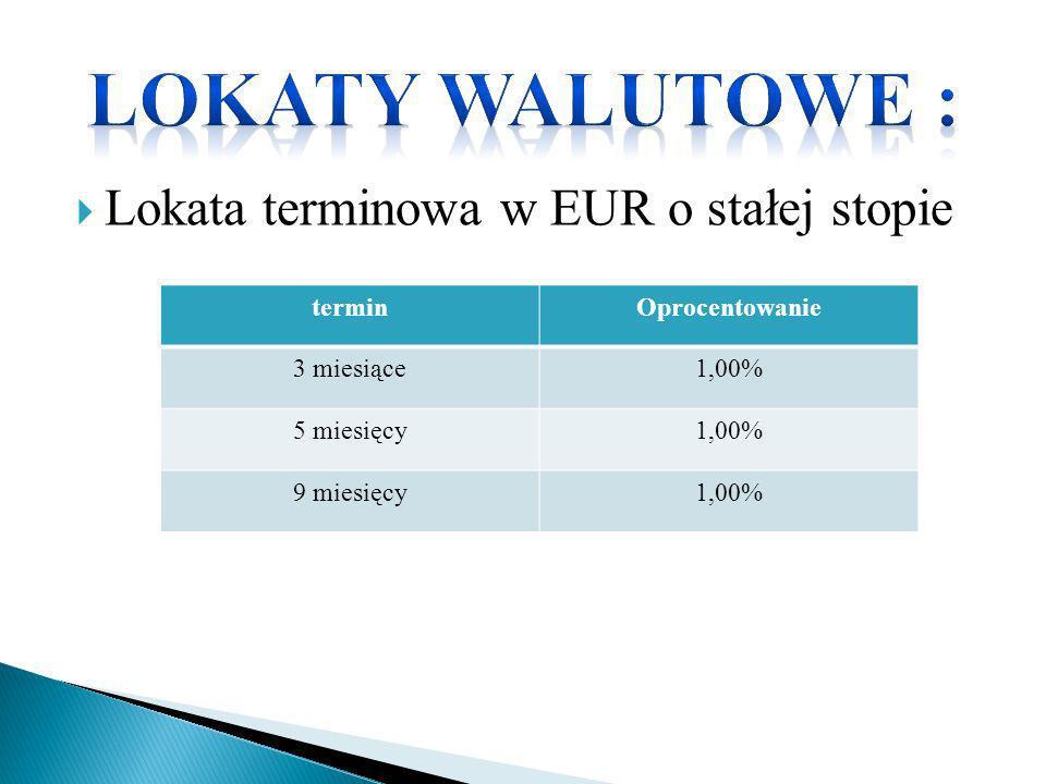 Lokata terminowa w EUR o stałej stopie terminOprocentowanie 3 miesiące1,00% 5 miesięcy1,00% 9 miesięcy1,00%