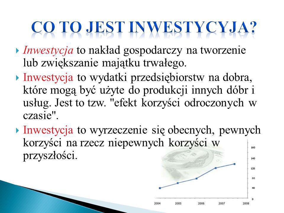 Inwestycja to nakład gospodarczy na tworzenie lub zwiększanie majątku trwałego. Inwestycja to wydatki przedsiębiorstw na dobra, które mogą być użyte d