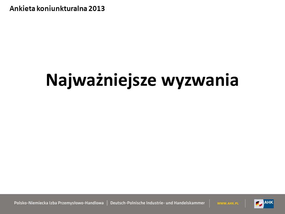 Najważniejsze wyzwania Ankieta koniunkturalna 2013
