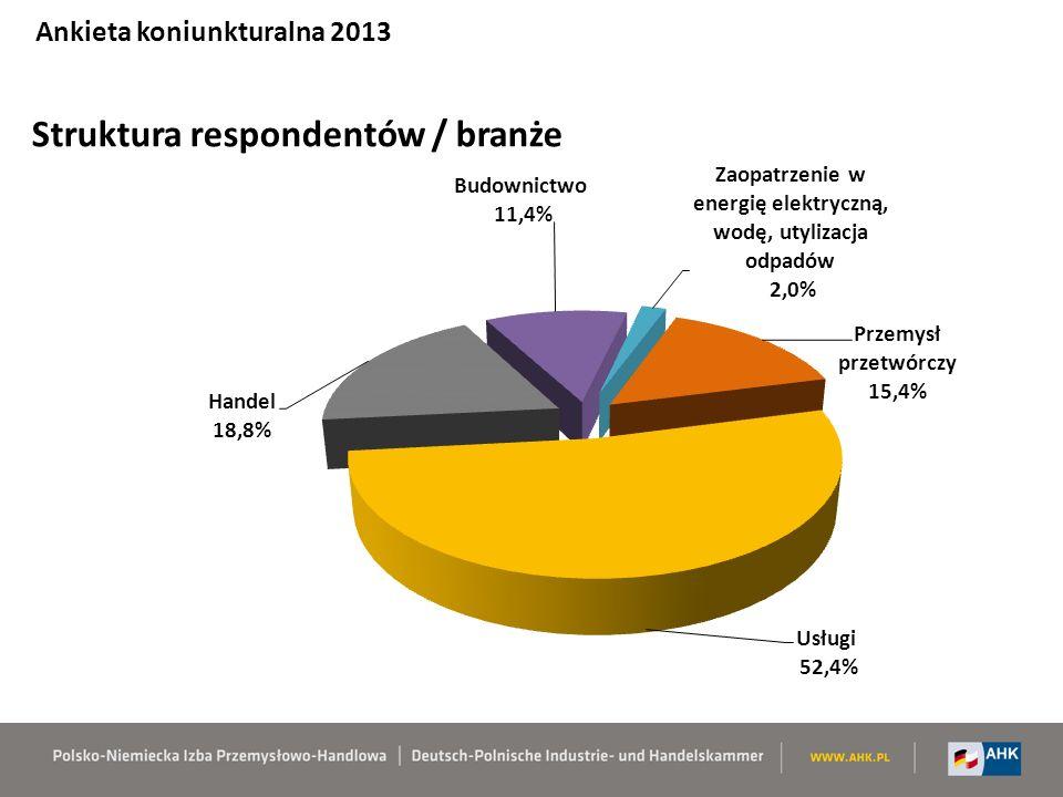 Struktura respondentów / branże Ankieta koniunkturalna 2013