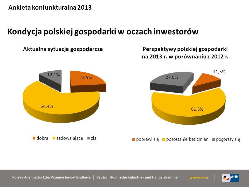 Kondycja polskiej gospodarki w oczach inwestorów Ankieta koniunkturalna 2013