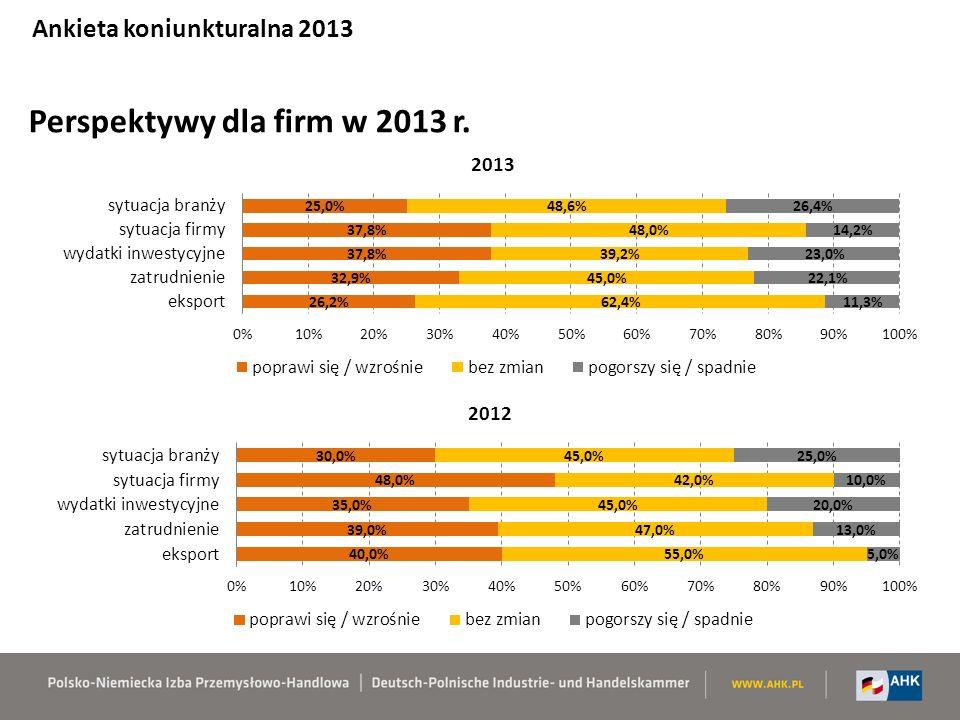 Perspektywy dla firm w 2013 r. Ankieta koniunkturalna 2013
