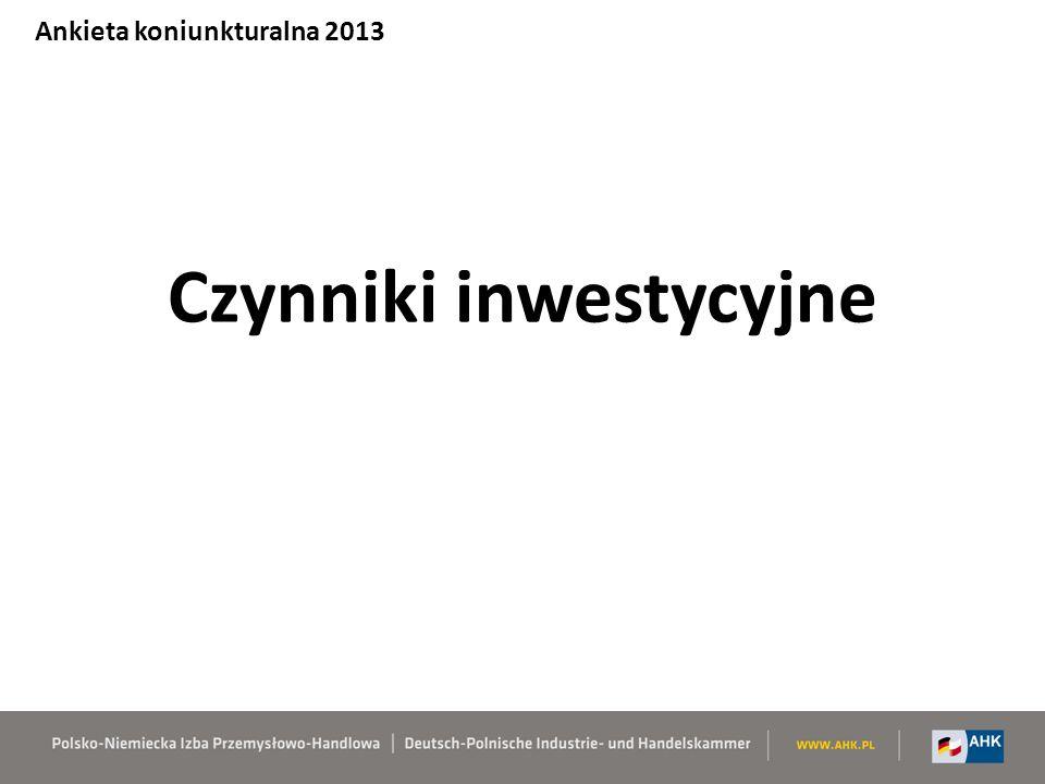 Czynniki inwestycyjne Ankieta koniunkturalna 2013