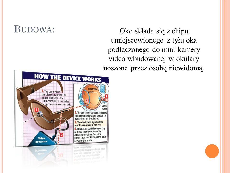 B UDOWA : Oko składa się z chipu umiejscowionego z tyłu oka podłączonego do mini-kamery video wbudowanej w okulary noszone przez osobę niewidomą.