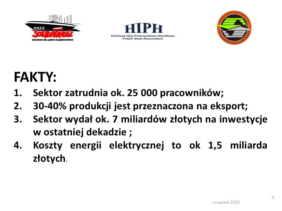 wrzesień 2012 4 FAKTY: 1.Sektor zatrudnia ok. 25 000 pracowników; 2.30-40% produkcji jest przeznaczona na eksport; 3.Sektor wydał ok. 7 miliardów złot