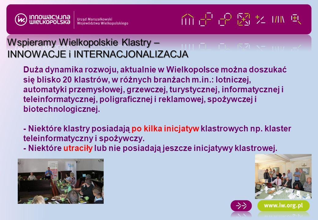 INNOWACJE: - Konkursy Vouchery dla inicjatyw klastrowych oraz Vouchery dla przedsiębiorstw -Konkurs i – Wielkopolska – Innowacyjni dla Wielkopolski INTERNACJONALIZACJA: -90 tys.