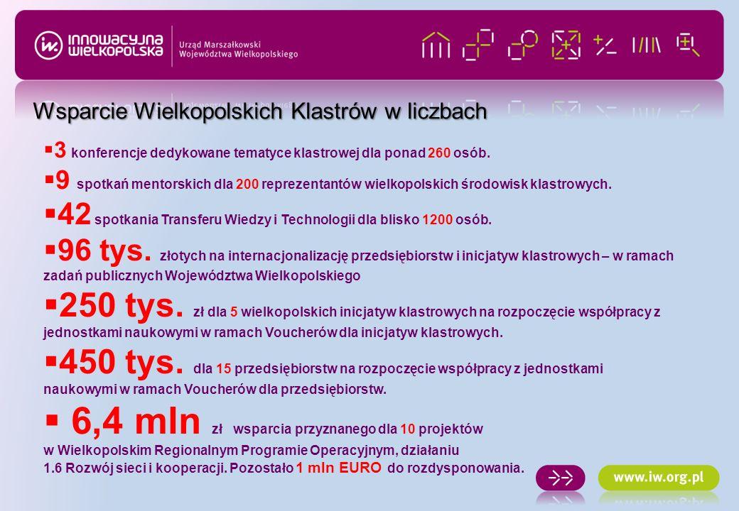 3 konferencje dedykowane tematyce klastrowej dla ponad 260 osób. 9 spotkań mentorskich dla 200 reprezentantów wielkopolskich środowisk klastrowych. 42