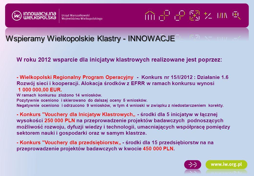 W roku 2012 wsparcie dla inicjatyw klastrowych realizowane jest poprzez: - Wielkopolski Regionalny Program Operacyjny - Konkurs nr 15/I/2012 : Działan