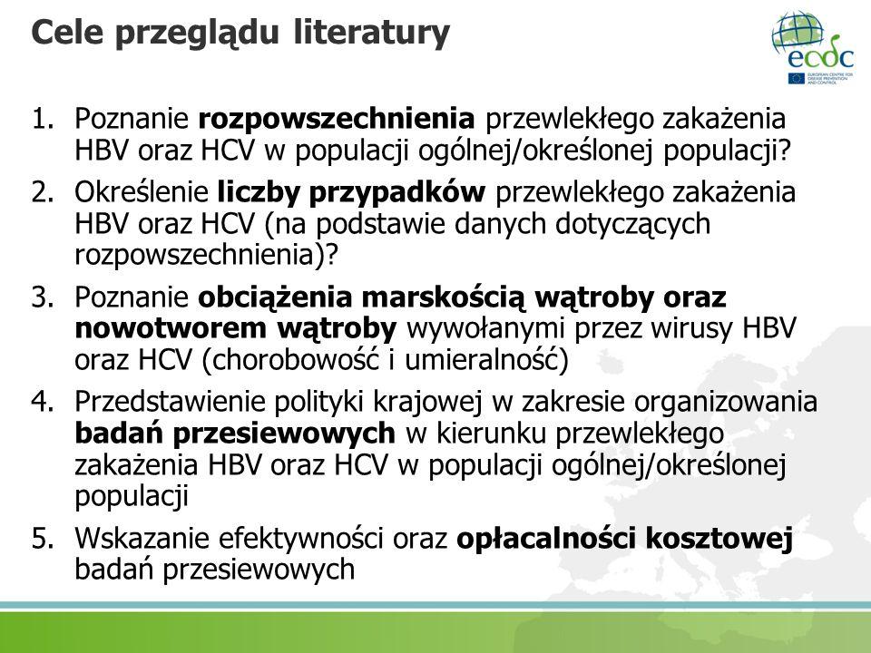 Cele przeglądu literatury 1.Poznanie rozpowszechnienia przewlekłego zakażenia HBV oraz HCV w populacji ogólnej/określonej populacji? 2.Określenie licz
