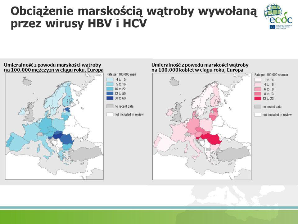 Obciążenie marskością wątroby wywołaną przez wirusy HBV i HCV Umieralność z powodu marskości wątroby na 100.000 mężczyzn w ciągu roku, Europa Umieraln