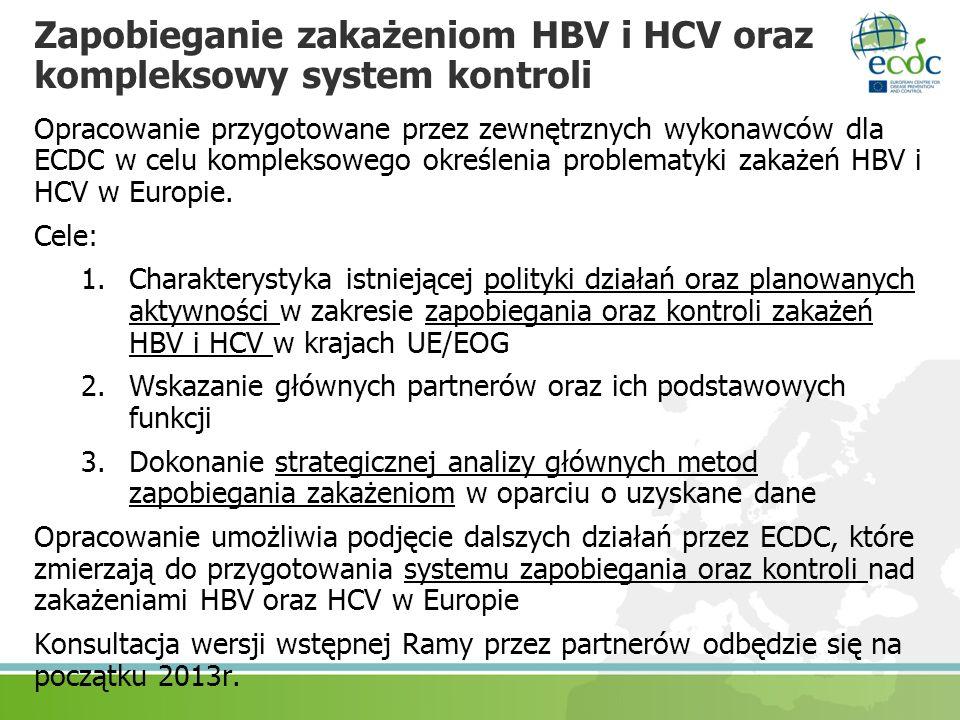 Zapobieganie zakażeniom HBV i HCV oraz kompleksowy system kontroli Opracowanie przygotowane przez zewnętrznych wykonawców dla ECDC w celu kompleksoweg