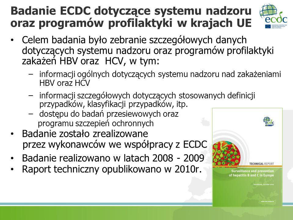 Badanie ECDC dotyczące systemu nadzoru oraz programów profilaktyki w krajach UE Celem badania było zebranie szczegółowych danych dotyczących systemu n