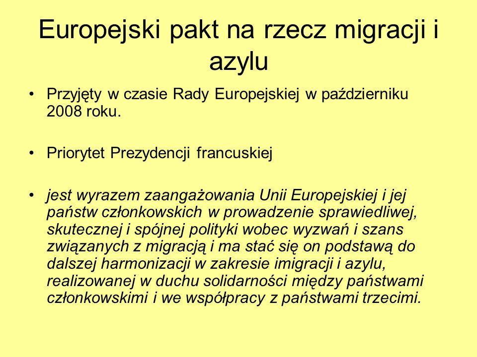 Europejski pakt na rzecz migracji i azylu Przyjęty w czasie Rady Europejskiej w październiku 2008 roku. Priorytet Prezydencji francuskiej jest wyrazem