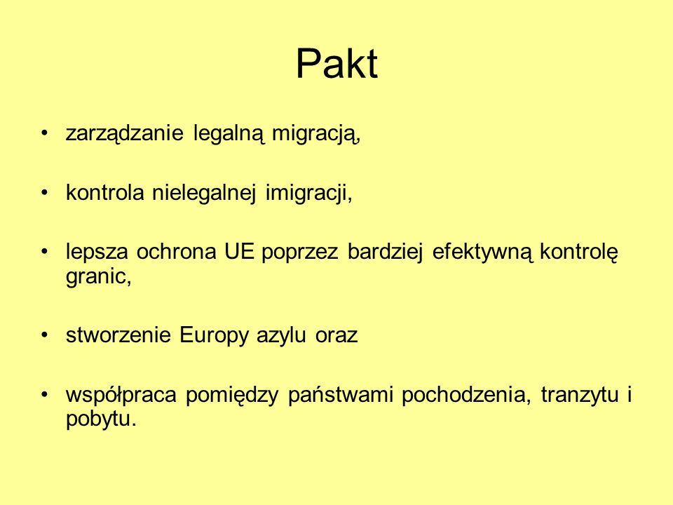 Pakt zarządzanie legalną migracją, kontrola nielegalnej imigracji, lepsza ochrona UE poprzez bardziej efektywną kontrolę granic, stworzenie Europy azy