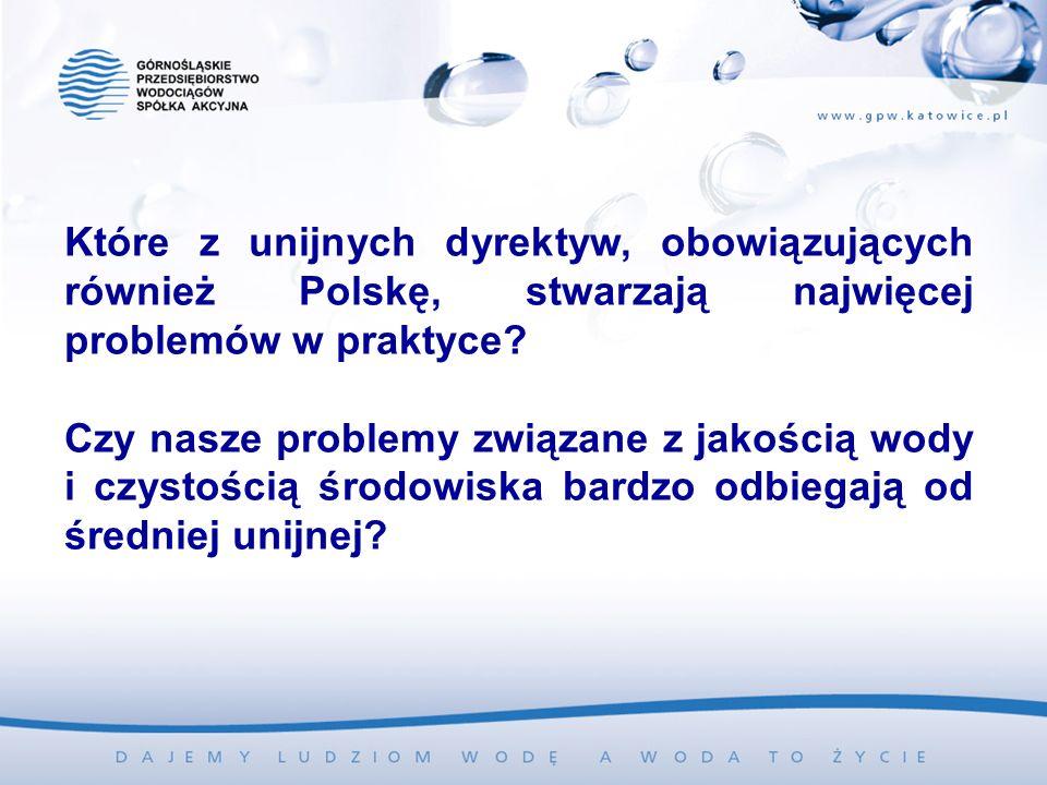 Które z unijnych dyrektyw, obowiązujących również Polskę, stwarzają najwięcej problemów w praktyce? Czy nasze problemy związane z jakością wody i czys